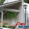 This prefabricated steel arch building is used as a general store.