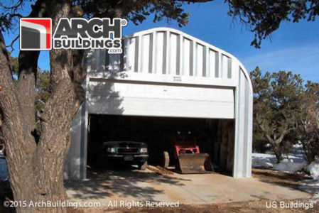 Our 20 x 20 Steel Arch 2 car detached garage in action.